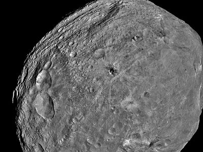 Vesta- from orbit;  2nd biggest asteroid