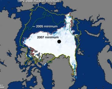2007 Polar Ice relative to 2003 + '79-2000 avg
